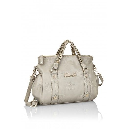LIU JO BAG KATE  Small handbag can be worn as a crossbody bag, solid colour, all-over embossed logo, metal appliqués with logo, double handle with metal chain, zip closure on the top, lining with logo, inside pockets. Embossed shiny nappa finish. Size: Height: 28cm, Width: 30cm, Depth: 15cm, Handle Drop: 8cm  #liujo #italianbrand #handbag #bag