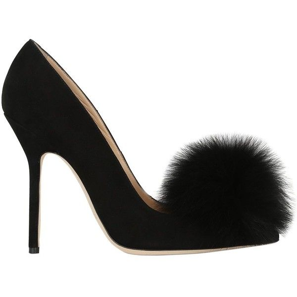 Racine Carrée Women 110mm Lapin & Suede Pumps (£330) ❤ liked on Polyvore featuring shoes, pumps, heels, black, black pumps, pointy-toe pumps, high heel pumps, black heeled shoes and high heeled footwear