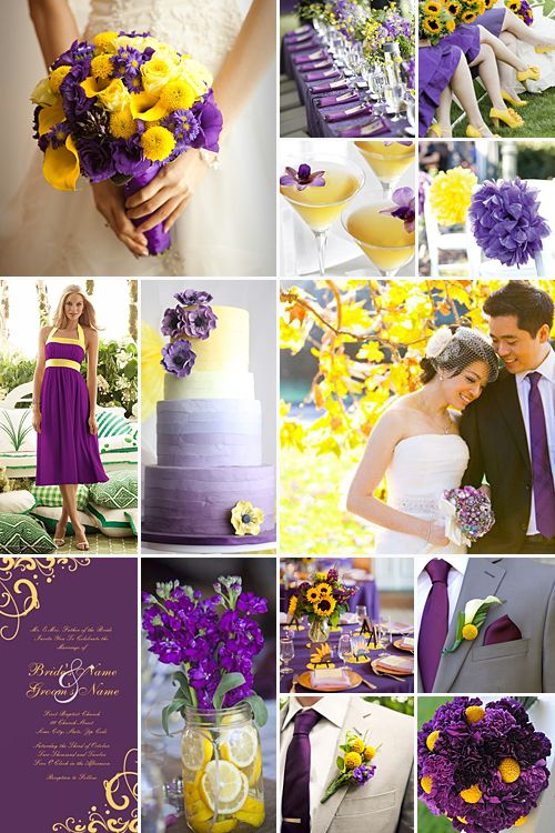 Purple and yellow weddings: A vibrant, lively colour combination that conveys a sense of joy and fun!