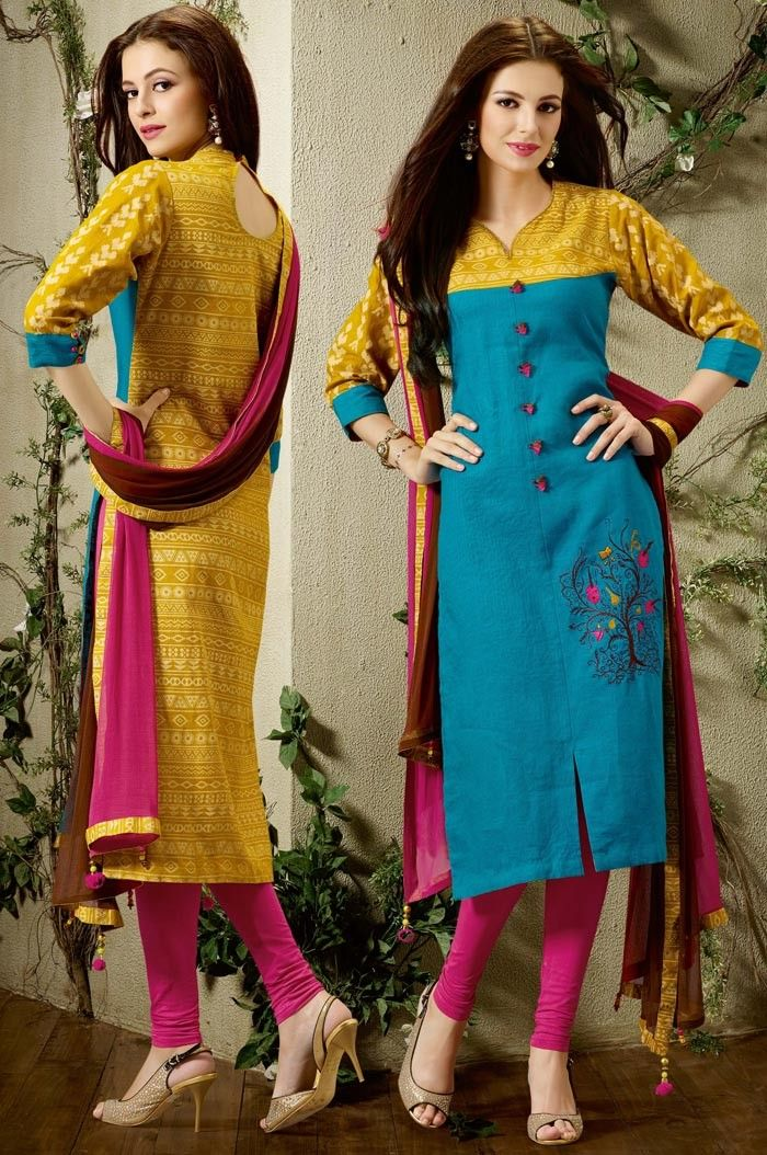 Blue #Silk #Churidar #Kameez with Dupatta