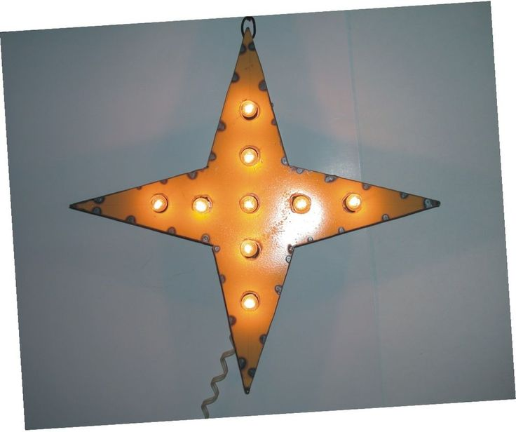 Yellow Star Vintage Industrial Metal Marquee Movie Lights Signs & Letters Custom