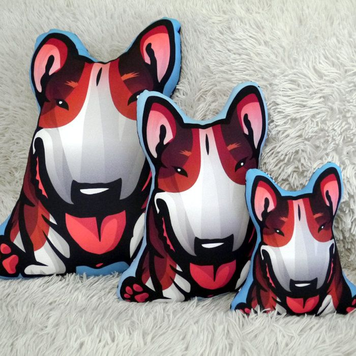 Bull Terrier Dog Pillow Decorative Cushion Tricolor Bully, black tan white…