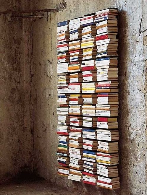 DIY Book Shelves so you can have more books displayed and no big pieces of furniture. Looks so cool!
