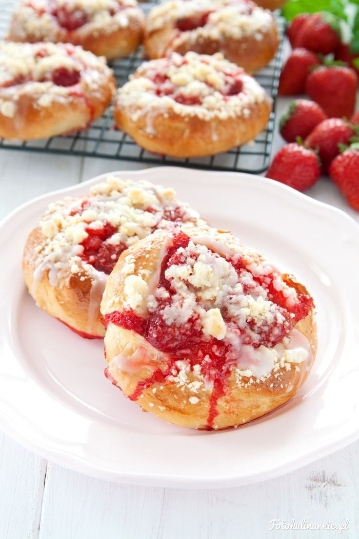 Strawberry Crumble Buns with Lemon Glaze.
