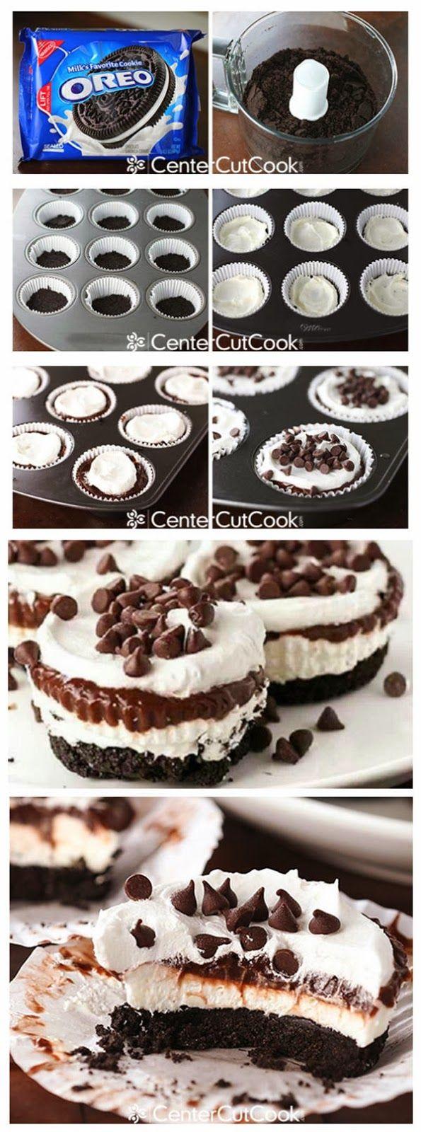 Chocolate Cream Cupcakes Sin coccion. Con Oreo queso crema,Cool Whip y un paquete de Pudding instantaneo. PROBAR
