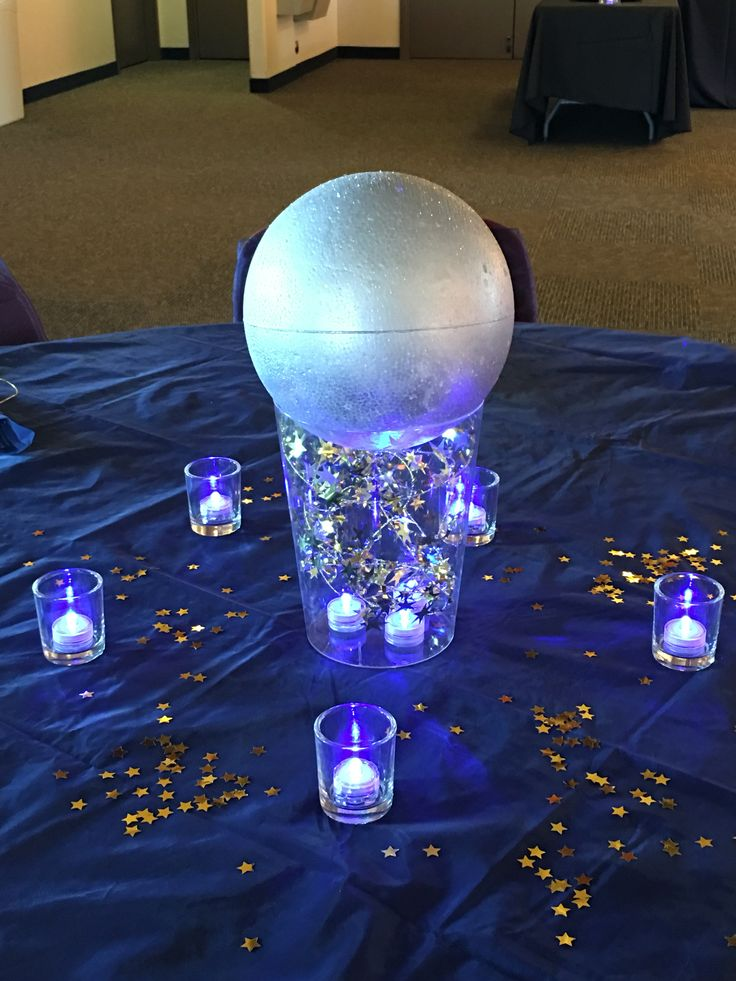 Prom Dinner Center Pieces Fly Me To The Moon Theme In