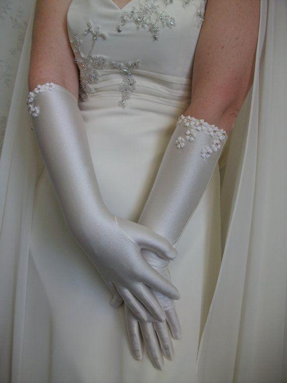 Ivory wedding gloves Bridal gloves ivory satin by DesignByIrenne