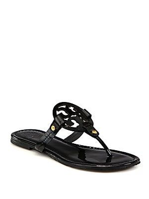c20f1f222b4cbc Tory Burch Miller Patent Leather Logo Thong Sandals