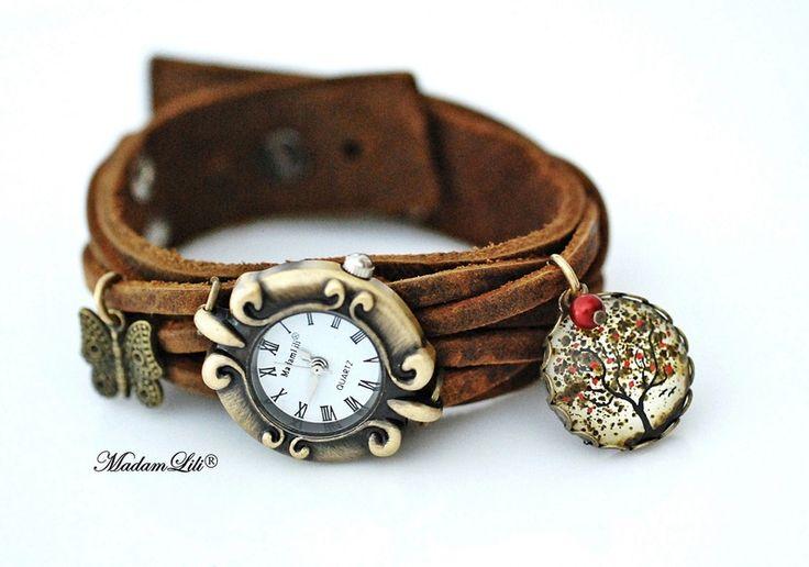 Drzewo życia - skórzany zegarek damski ręcznie robiony #Ribell #MadameLili #zegarki #handmade >> Wybierz Twój na: https://www.ribell.pl/zegarki-recznie-robione-handmade