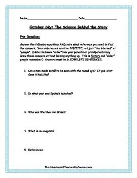 A teacher/student guide to use with the novel October Sky/Rocket Boys written by Homer Hickam. Includes pre-reading questions, chapter by chapter vocabulary, science concepts and discussion questions.