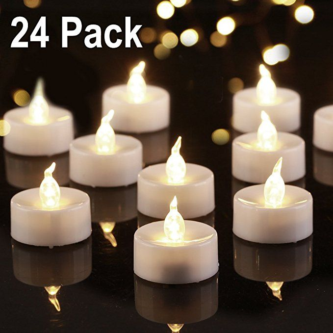 Beichi 24 Pack Flameless Led Tea Lights Battery Powered Fake Tealights With Warm White Flickering Light Small Electr Led Tea Lights Candles Tea Light Candles