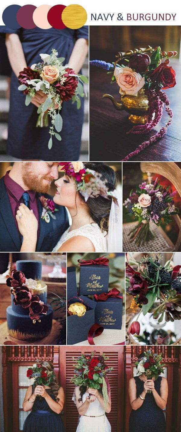 Traditional And Classic Navy And Burgundy Wedding Color Ideas.
