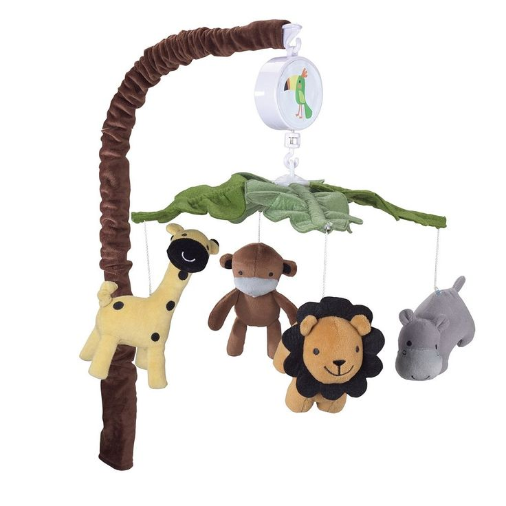 Lambs and Ivy Peek A Boo Jungle Musical Mobile, Light Blue