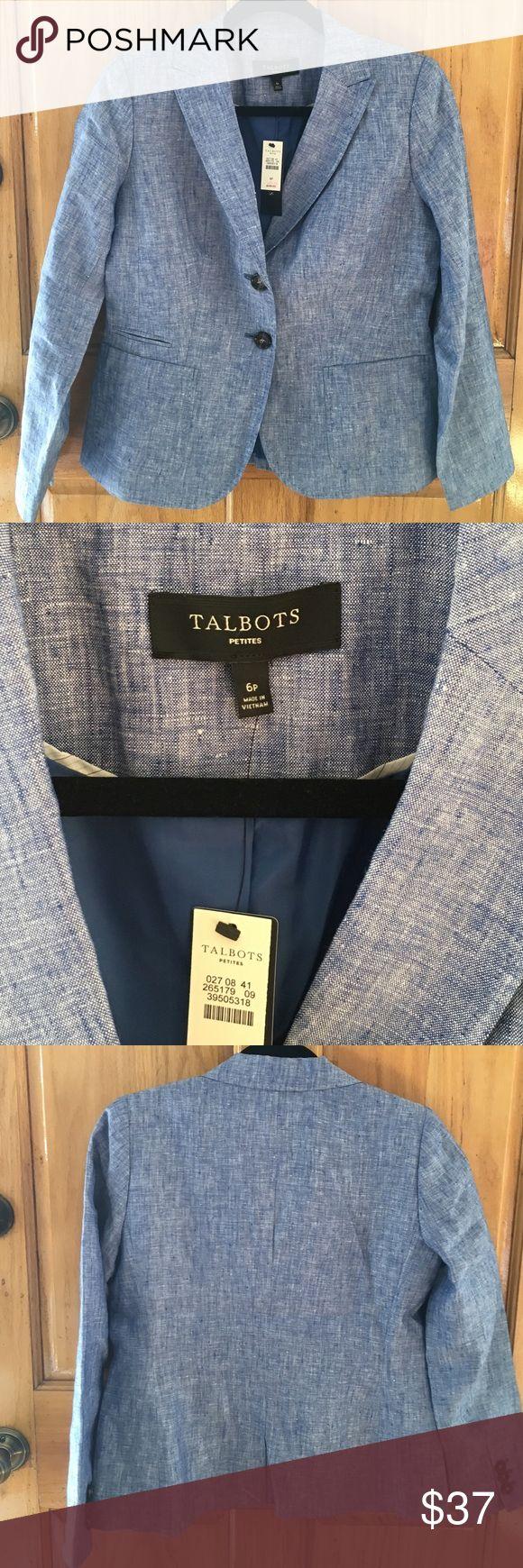 Talbots chambray linen blazer Linen chambray blazer, BNWT, pinstripe lining on sleeves (see pic) bought last season, run large Talbots Jackets & Coats Blazers