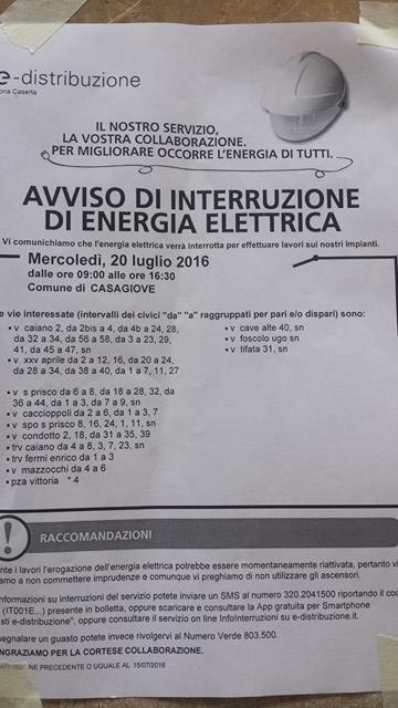Lavori Enel a Casagiove, mercoledì 20 luglio l'interruzione della corrente elettrica: ecco le strade interessate a cura di Redazione - http://www.vivicasagiove.it/notizie/lavori-enel-casagiove-mercoledi-20-luglio-linterruzione-della-corrente-elettrica-le-strade-interessate/