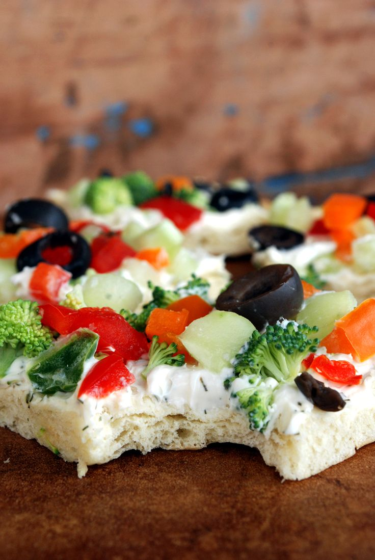 Veggie Pizza Appetizer  (my 1st reaction was to swap real mayo for the miracle whip.. turned out great!)