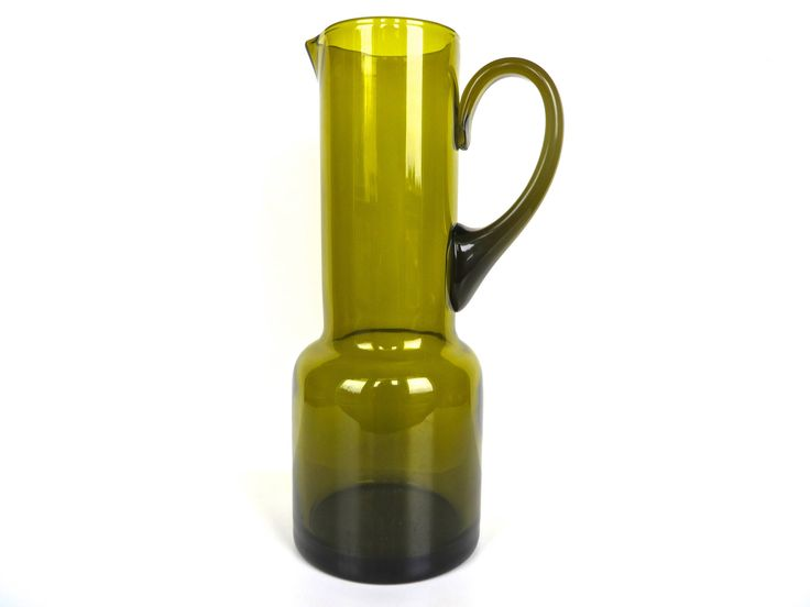 Large Vintage Modern Glass Water Pitcher, Olive Green Glass Carafe, Scandinavian Style Blown Glass Carafe Pitcher