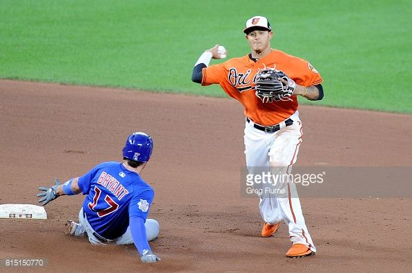 News Photo : Manny Machado of the Baltimore Orioles forces out...