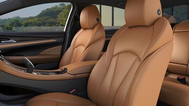 Photo showing available perforated leather-appointed heated and ventilated driver- and front-passenger seats in the 2017 LaCrosse sedan.