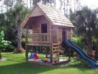 "After a memorable vacation in a log cabin, RMSer suzyqswfl18's husband and their young grandson built a ""mountain lodge"" in their backyard."