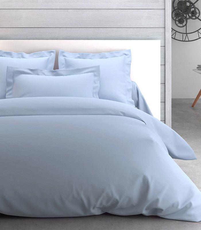 Linge de lit en percale unie. Parure de lit Anne de Solène.
