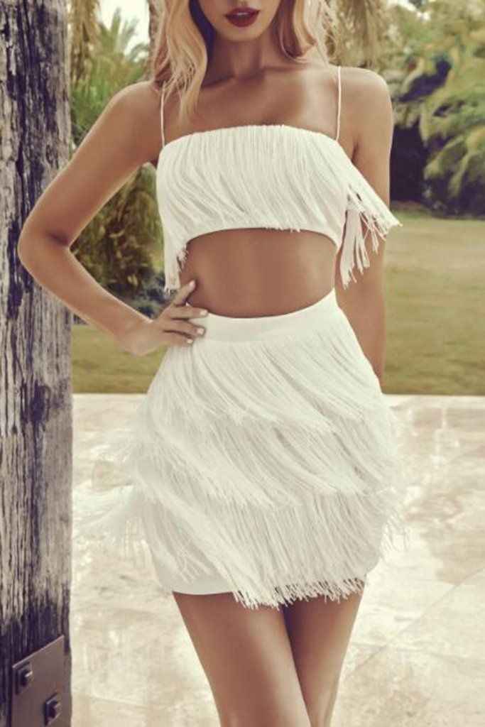 823a5b93c86 Sweetheart Fringe Crop Top And Skirt will make your presence known wherever  you go. Covered