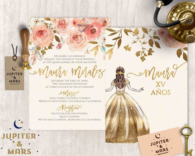 Boho Chic Quinceañera Invitation, Quinceanera Invitation, Invitacion de Quinceñera Oro, Watercolor Floral, Feathers, Gold Type DIGITAL FILE by JupiterAndMarsPrints on Etsy https://www.etsy.com/listing/521640177/boho-chic-quinceanera-invitation