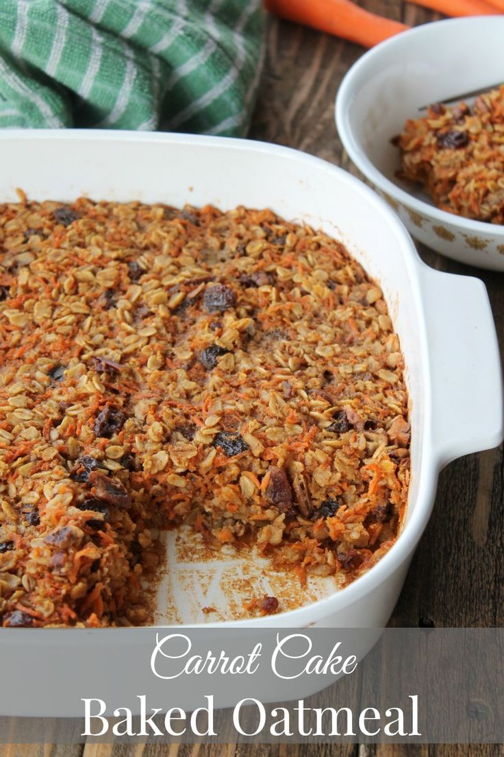 Carrot Cake Baked Oatmeal Recipe 238 calories. Super easy and delicious make-ahead breakfast recipe.