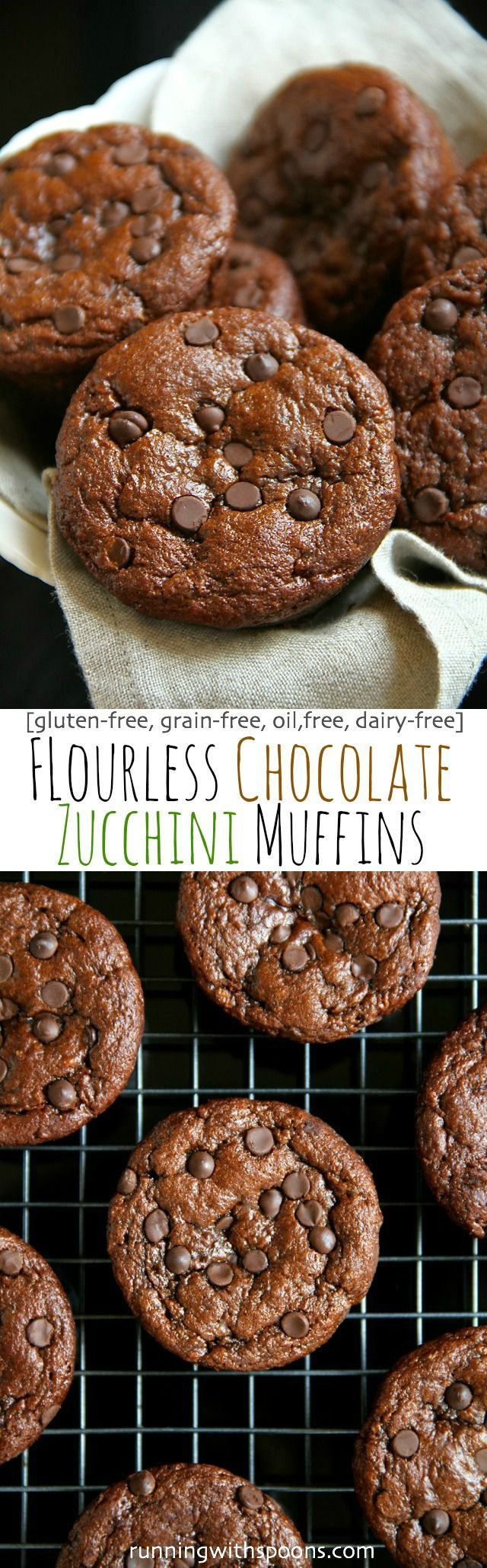 Flourless Chocolate Zucchini Muffins - Gluten free, grain free, oil free, dairy free, refined sugar free.