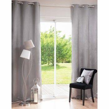 LEIGH Satiny Grey Eyelet Curtain 105 x 250 cm