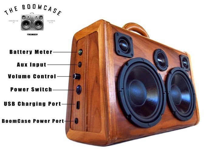 Wooden BoomCase http://coolpile.com/gadgets-magazine/wooden-boomcase/ via CoolPile.com - $350+  -  Android, Audio, Audio Amplifier, Blackberry, Bluetooth, Gifts For Him, Handmade, iPad, iPhone, iPod, Smartphones, Speakers, Suitcases, USB, Wood, Wooden