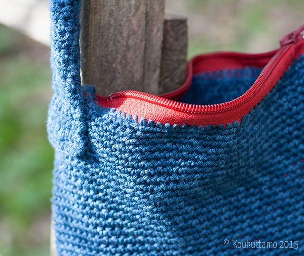 Olga-laukku   Crocheted bag   Schachenmayr Catania Denim   Koukuttamo