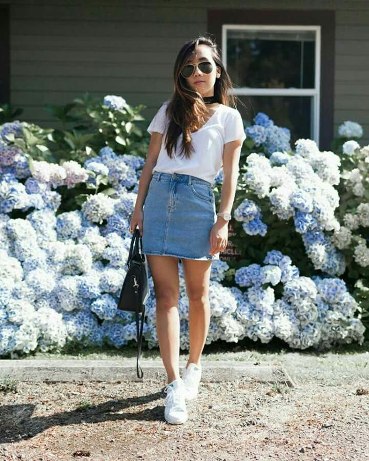 fab930134c Pin by Shoes 202 on Adidas Stan smith outfits | Fashion, Denim skirt outfits,  Denim skirt