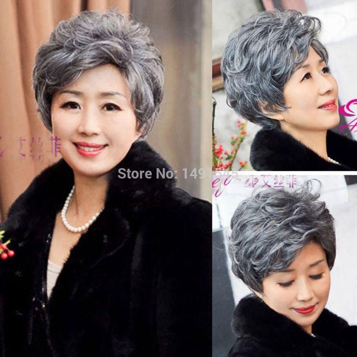20 см женская Мода Вьющиеся Волнистые Короткие Парики Для Старых Женщин Косплей Серый Синтетические Волосы природных Дешевые Мать Подарок хэллоуин