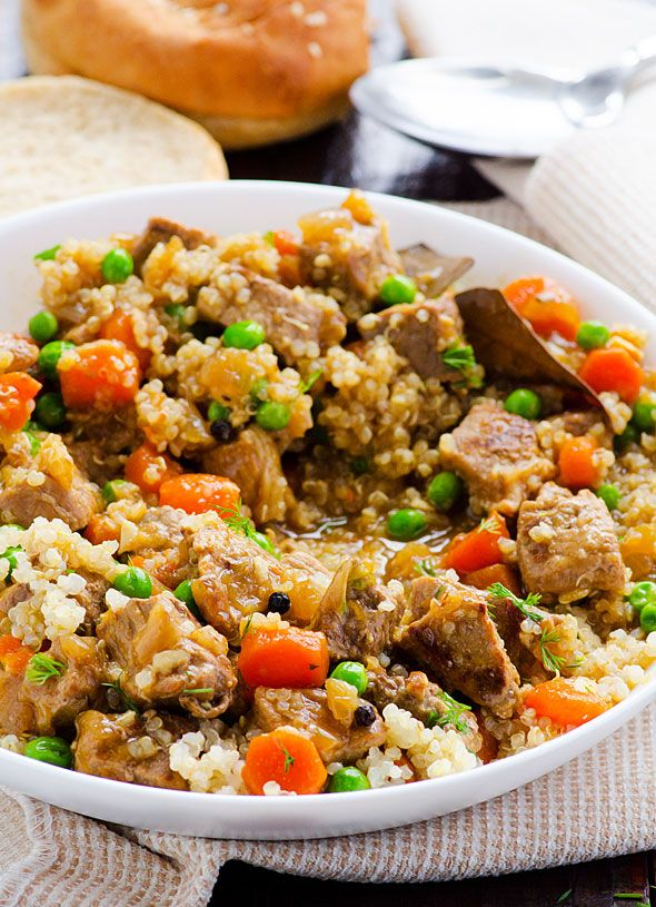 Clean Eating Beef Quinoa Stew -- Tender beef, hearty quinoa in this saucy gluten free dinner ready in an hour.