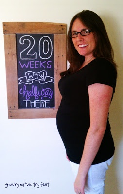 Growing by Two Tiny Feet: 20 Weeks Baby Bump Chalkboard