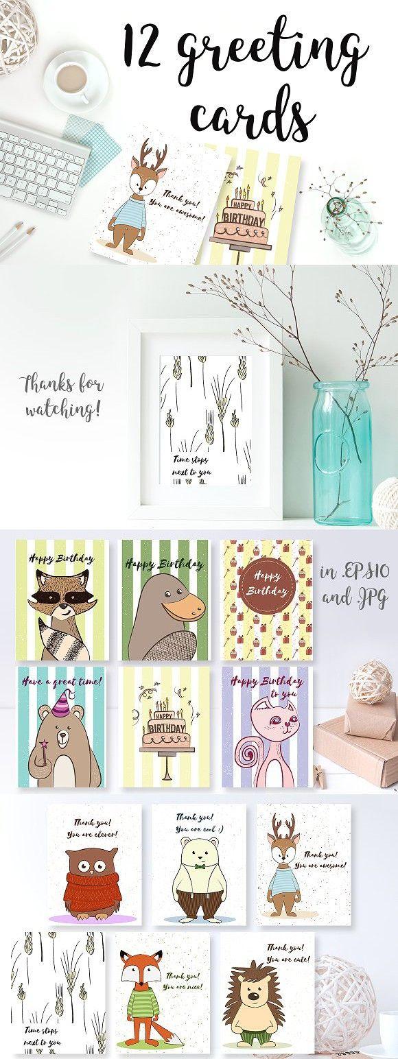 Happy Birthday cards. Card Design Templates