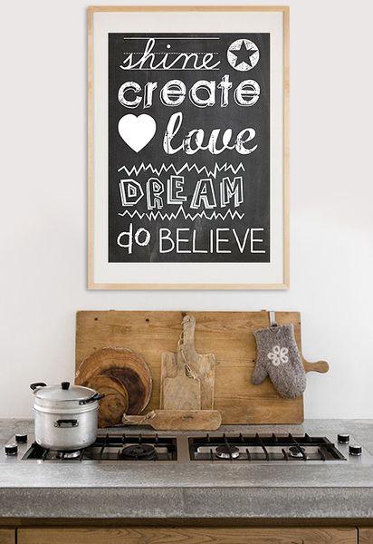 Typografie+Poster+auf+Tafel-Hintergrund+von+VintagePaperGoods+-+GreenNest+auf+DaWanda.com