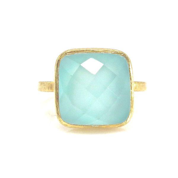 Square Aqua Chalcedony Gold Ring