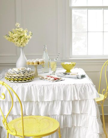 white ruffled tablecloth: Tables Clothing, Sweet, Tables Skirts, Ruffles Tablecloths, Shower Curtains, Yellow Accent, Lemon Yellow, Yellow Chairs, Teas Parties