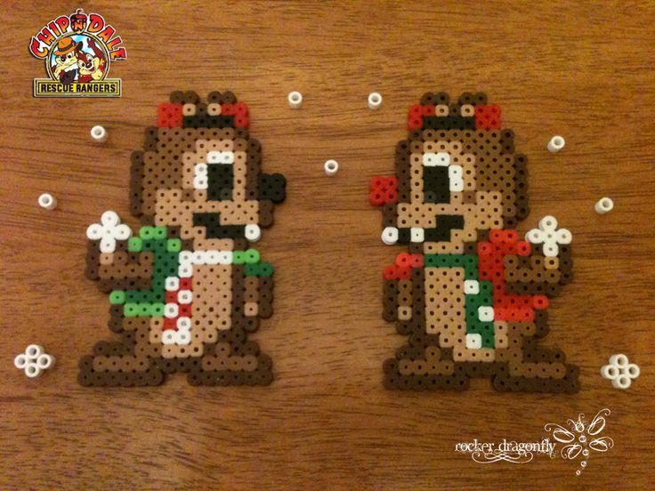 Christmas Chip and Dale !!! Perler Bead Creation by: RockerDragonfly