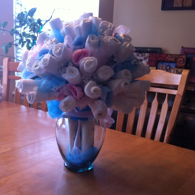 Diaper bouquet for someone 39 s baby shower please for Pink diaper bouquet