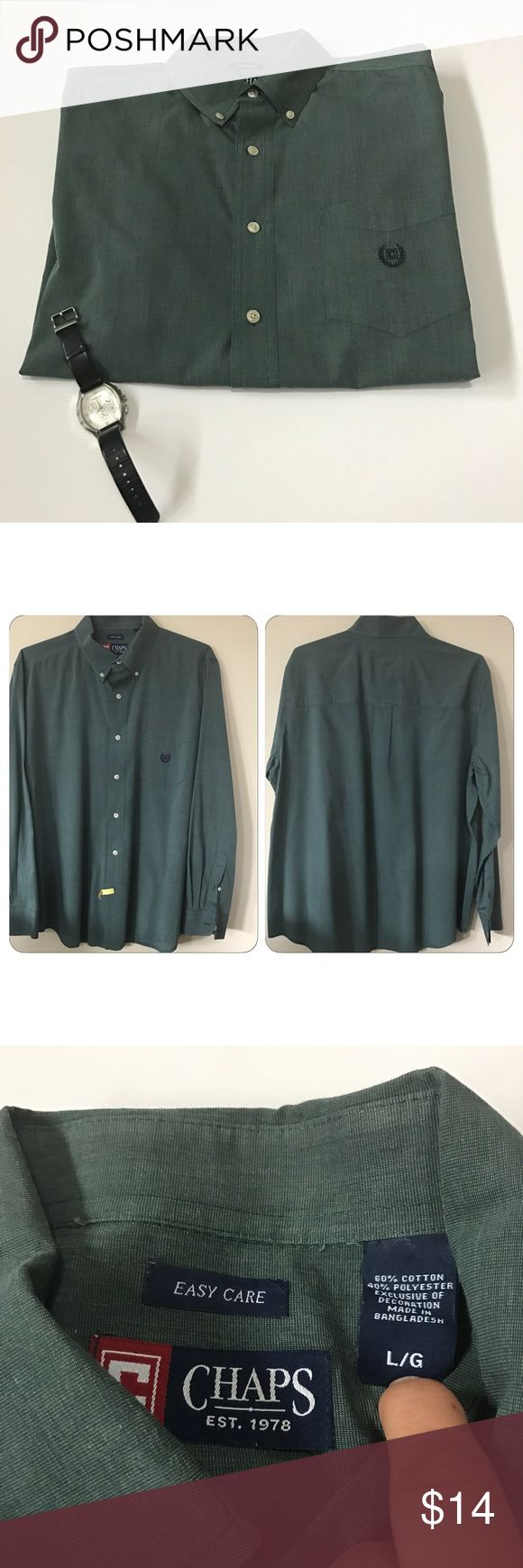 Chaps long sleeve button down shirt Chaps long sleeve button down shirt in hunter green. Has Chaps logo on front pocket. Buttons at collar to secure tie Chaps Shirts