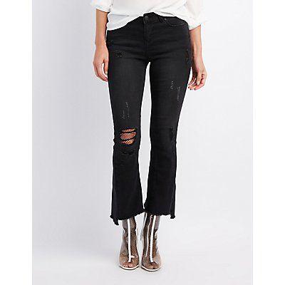 Black Distressed Flared Step Hem Jeans - Size 13