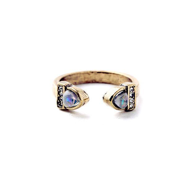 Vintage design stone ring with mini rhinestones  Open end Size: UK-Q / US-8 (adjustable)
