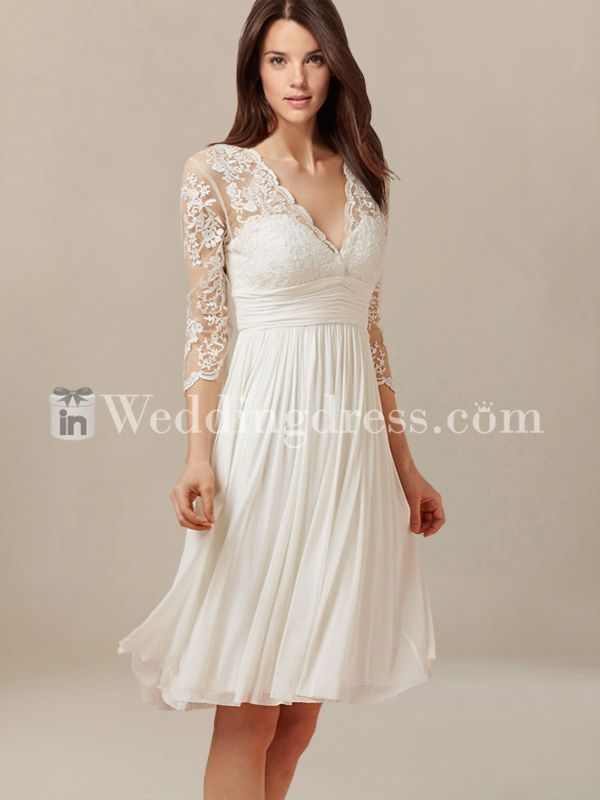 Short lovely wedding dress features in Tulle and Chiffon. The bodice is adorned with vintage lace with scalloped edge along the V-neckline. Lace sheer sleeves add glamor to the whole silhouette for a romantic gal looking. Back is zipper closure with keyhole nape. #weddingdresses #bridalgowns.............I LOVE THE SLEEVES