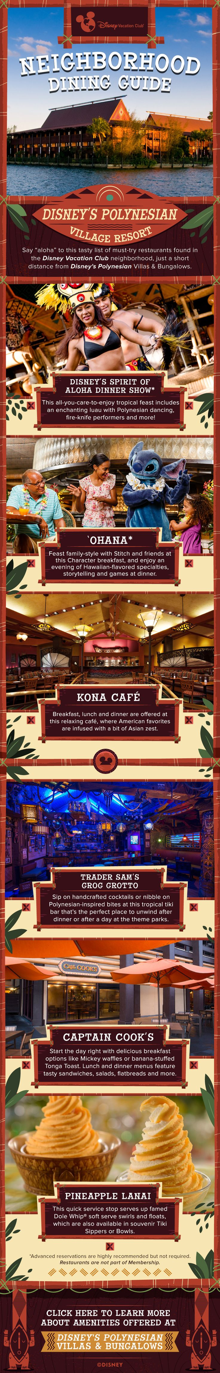 Check out this complete guide to dining offered in the Disney Vacation Club Neighborhood at Disney's Polynesian Village Resort. Click to learn more about amenities offered at the resort.