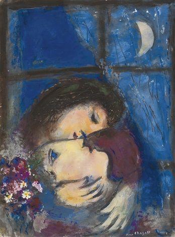 DEUX TÊTES À LA FENÊTRE by Marc Chagall