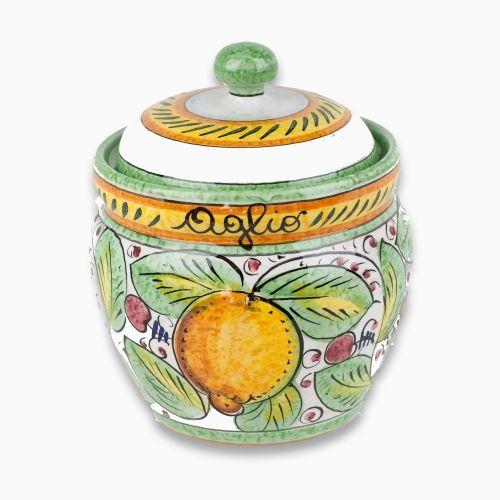 Frutta Mista Garlic Keeper - Italian pottery jar hand made and hand painted. Italian ceramics from Umbria.