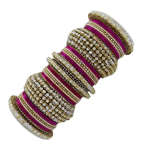 Magenta / Fushia / Dark Pink and Gold Gorgeous Indian Bangle Set for Brides!